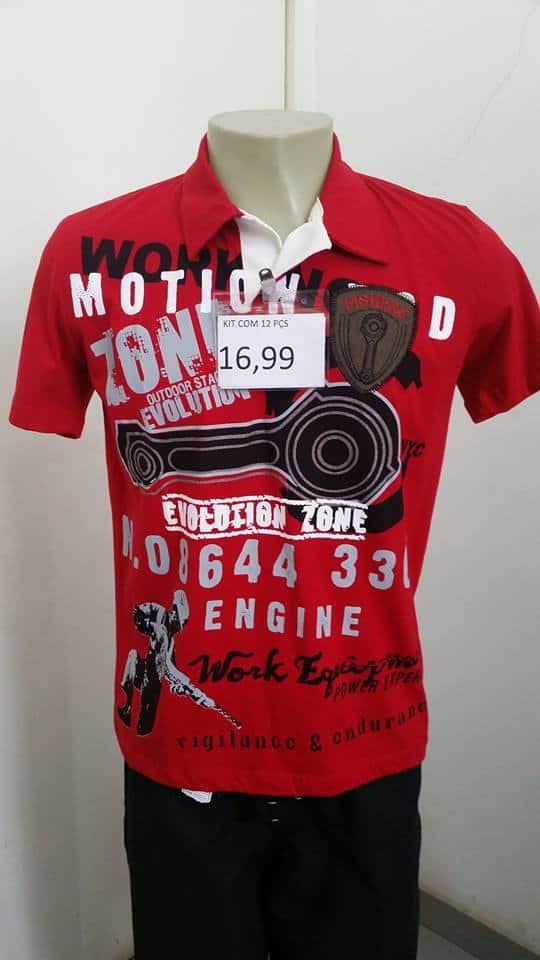 Camiseta polo masculina atacado preço único Brás