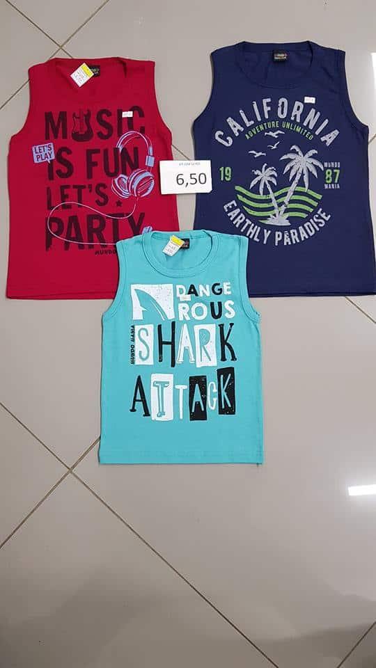Camisetas regatas infanto juvenil